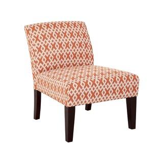 Hurlbert Orange Lattice Armless Slipper Chair by Wrought Studio