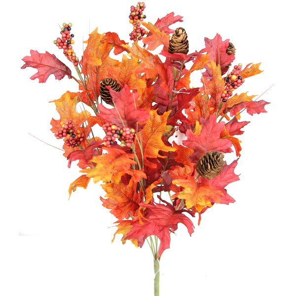 9 Stems Artificial Maple Leaves, Pine Cones and Berries Foliage Bush for Home, Fall Wedding, Halloween or Thanksgiving Floral Arrangement by Three Posts