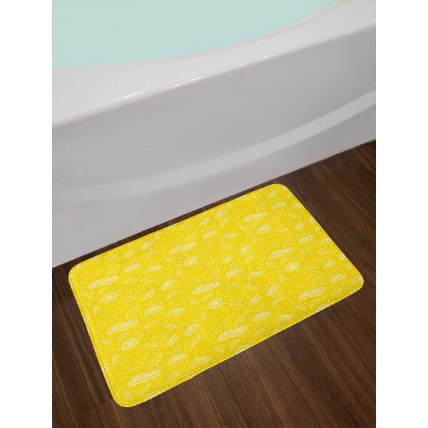 Lemons Yellow and White Bath Rug by East Urban Home