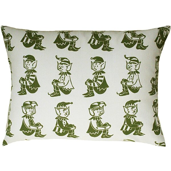 Elf All Over Pattern Block Print Accent Cotton Throw Pillow by Artgoodies