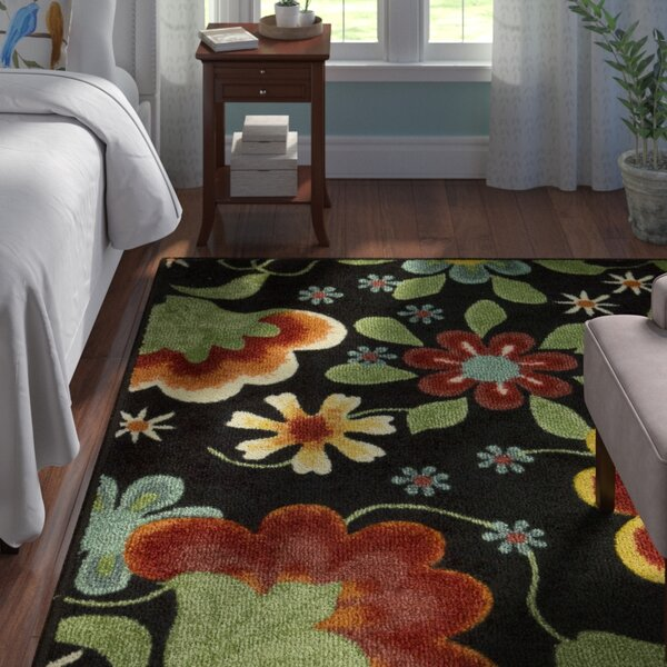 Greenmeadow Wool Black/Green Area Rug by Andover Mills