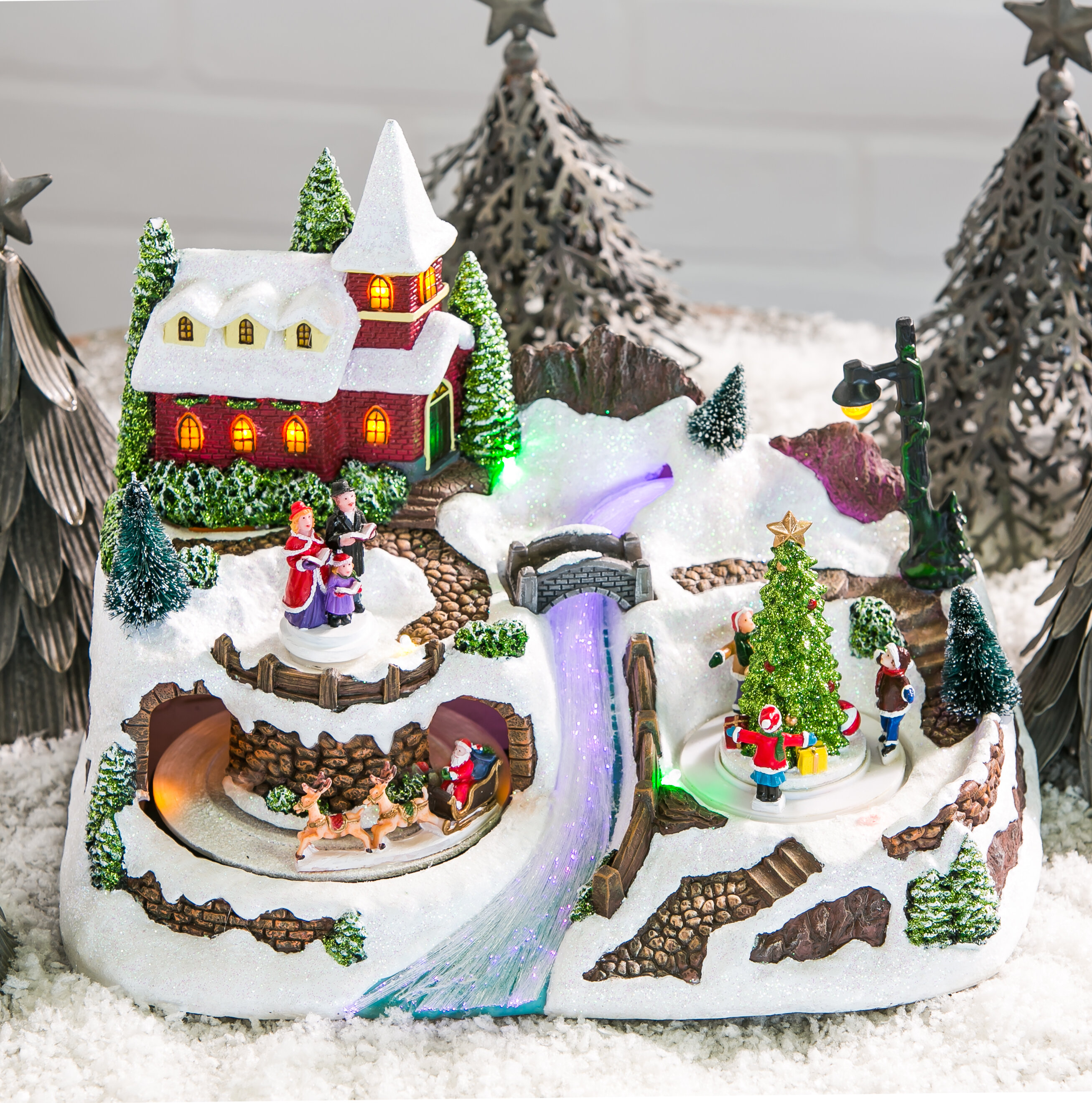 Christmas Village.Christmas Village With River Led Scene
