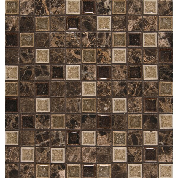 Kismet 1 x 1 Glass Mosaic Tile in Karma by Bedrosians