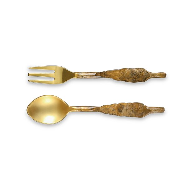 Emmaus Cocktail 2 Piece Specialty Fork and Spoon Set by World Menagerie