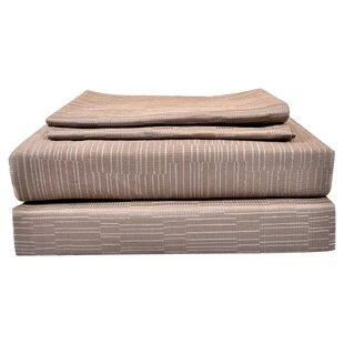 Best Reviews Tomaz Genuine Jacquard Pebble 400 Thread Count Geometric 100% Egyptian-Quality Cotton Sheet Set ByUnion Rustic