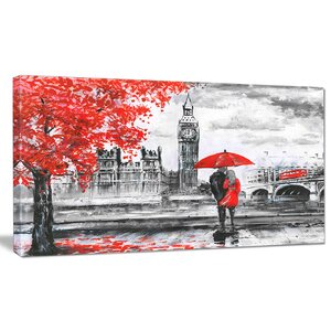 'Couples Walking in Paris' Painting Print on Wrapped Canvas by Design Art