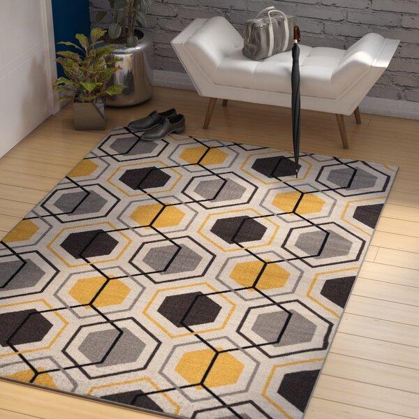 Princess Geometric Stripe Yellow Area Rug by Zipcode Design