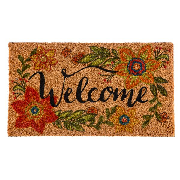 Columbard Floral Welcome Coir Doormat by Charlton Home