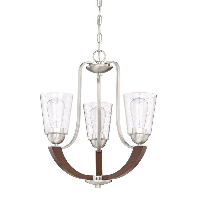 Chryses Brushed Nickel 3 Light Shaded Chandelier