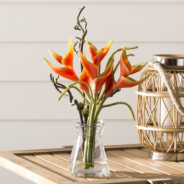 Heliconia Floral Arrangements in Decorative Vase by Nearly Natural