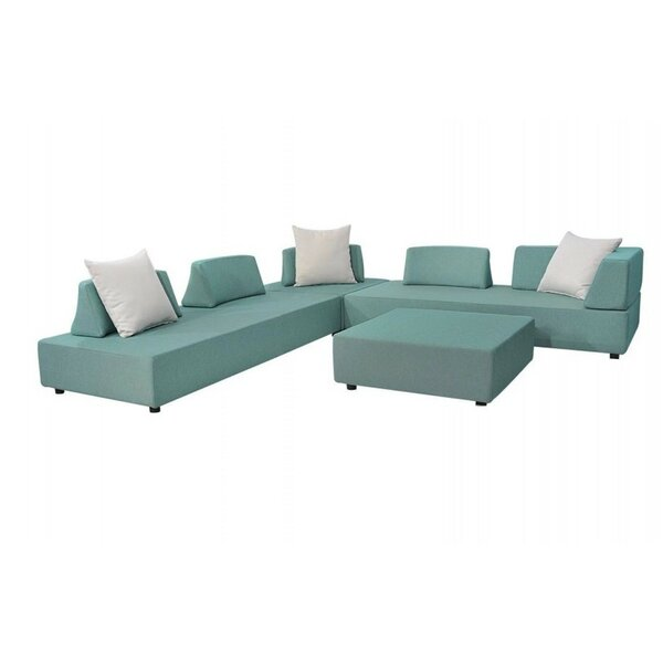 Merkley Outdoor 9 Piece Sectional Seating Group with Cushions by Latitude Run