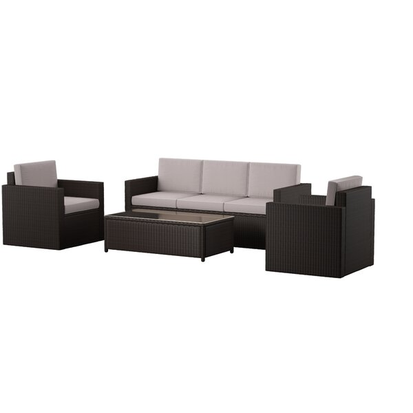 Belton 4 Piece Rattan Sofa Seating Group with Cushions by Mercury Row