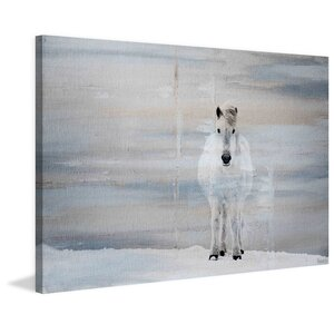 'White Horse Forward' by Parvez Taj Painting Print on Wrapped Canvas by Parvez Taj