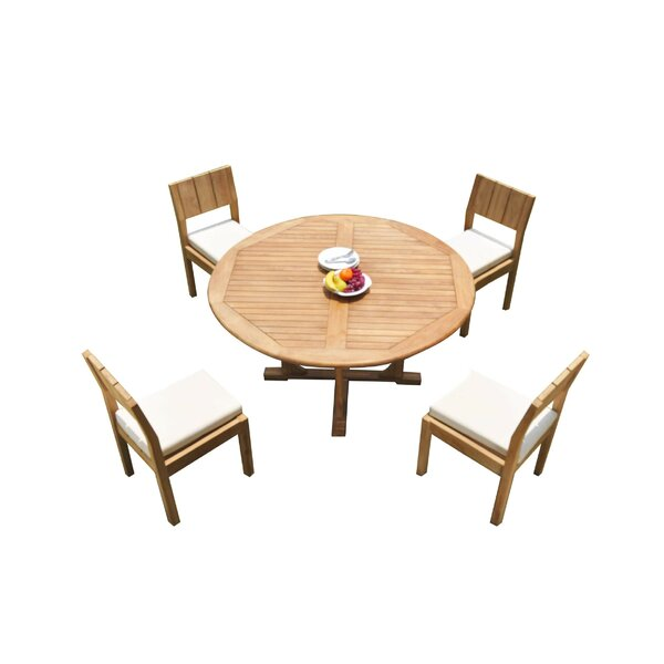 Genoa 5 Piece Teak Dining Set by Rosecliff Heights