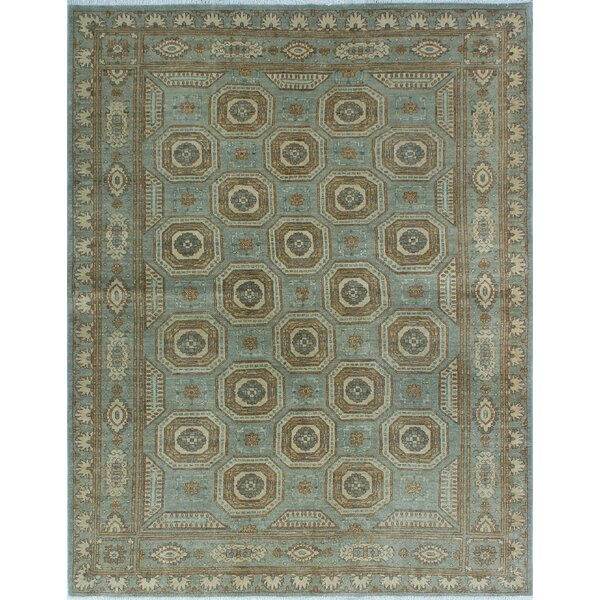 One-of-a-Kind Suzann Fine Chobi Hand-Knotted Green/Beige Area Rug by Isabelline