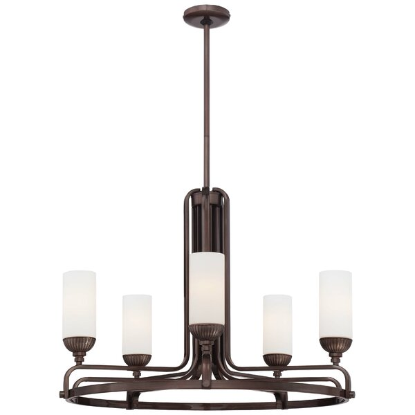 5 - Light Shaded Wagon Wheel Chandelier By Metropolitan By Minka