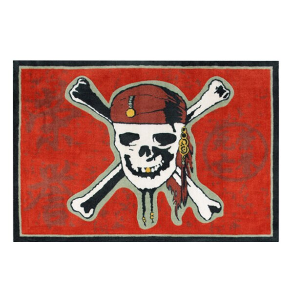 Pirate 3 Red Skull Red Area Rug by G.A. Gertmenian & Sons