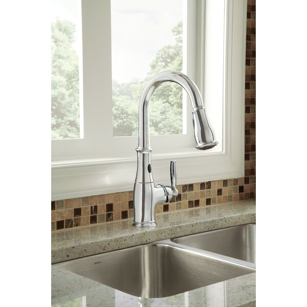 Brantford Pull Down Touchless Single Handle Kitchen Faucet with MotionSense Technology by Moen
