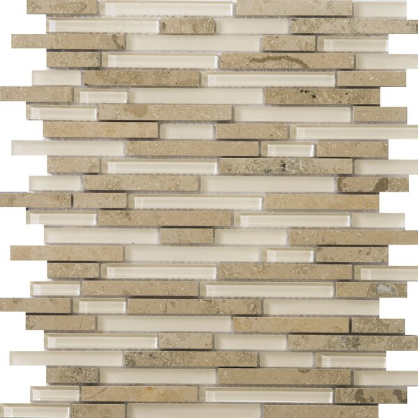 Lucente 12 x 13 Glass Stone Blend Linear Mosaic Tile in Lido by Emser Tile