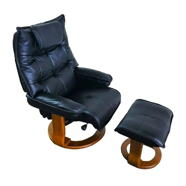 Hana Leather Manual Swivel Recliner with Ottoman by World Source Design