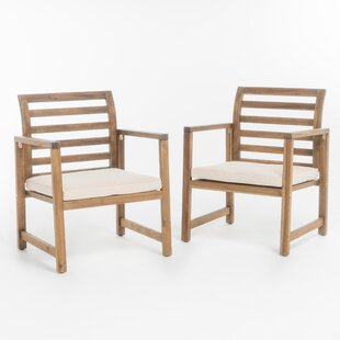 outdoor arm chair. Gaynelle Outdoor Arm Chair With Cushion (Set Of 2)