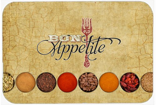 Bon Appetite and Spices Rectangle Non-Slip Food and beverage Bath Rug