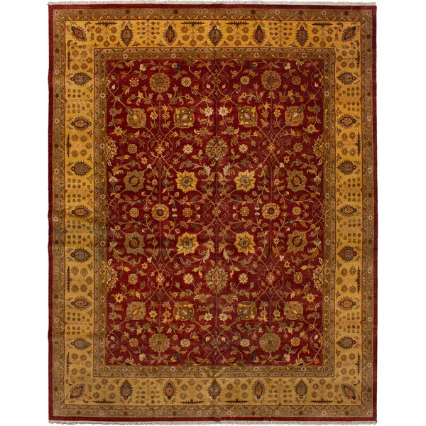 One-of-a-Kind Charlena Hand-Knotted Dark Red Wool Area Rug by Darby Home Co