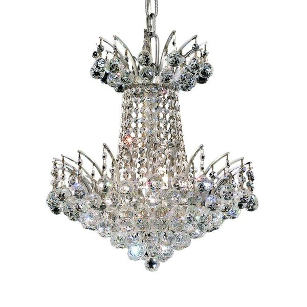 Phyllida 4 - Light Unique / Statement Empire Chandelier with Crystal Accents by Everly Quinn Everly Quinn