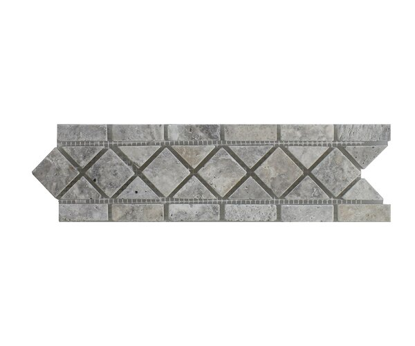 Silver Travertine 3.25 x 12 Marble Border Tile in Gray by Seven Seas