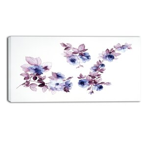 Watercolor Flowers Painting Print on Wrapped Canvas by Design Art