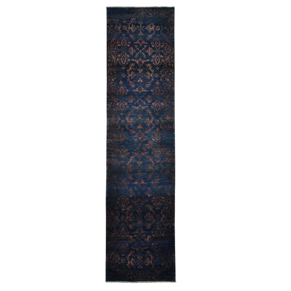 One-of-a-Kind Wanstead Damask Tone on Tone Hand-Knotted Charcoal Black Area Rug by Rosdorf Park
