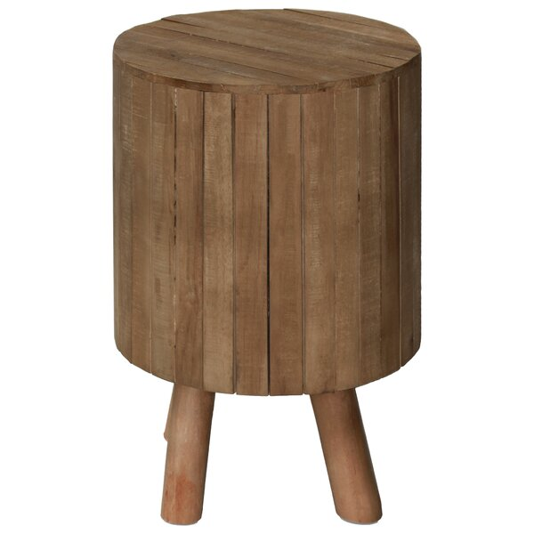Peabody Round Drum Wood End Table by Union Rustic