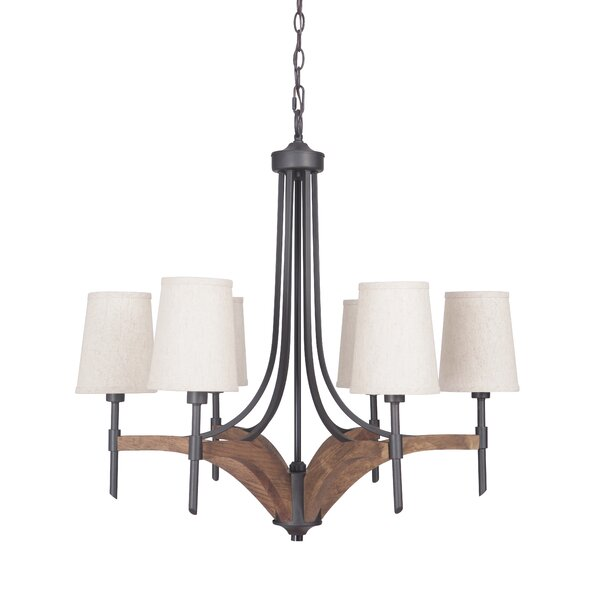 Polen 6 - Light Shaded Classic / Traditional Chandelier With Wood Accents By Gracie Oaks