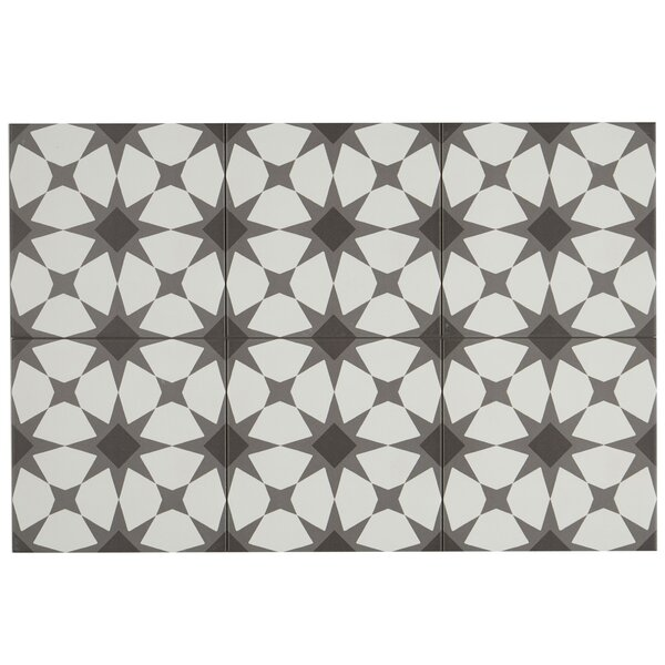 Encausto 8 x 8 Porcelain Field Tile in White/Black