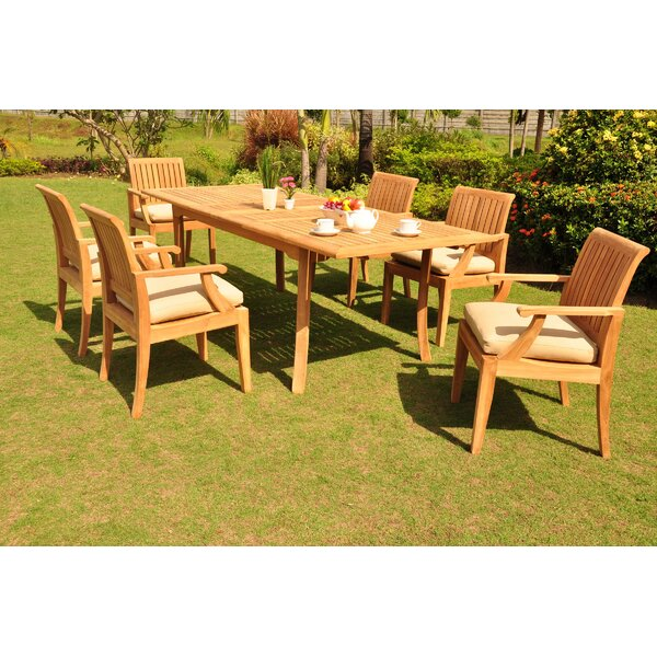 Lippa Luxurious 7 Piece Teak Dining Set by Rosecliff Heights