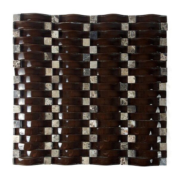 Wave Random Sized Glass Mosaic Tile in Glazed Marrone by Abolos