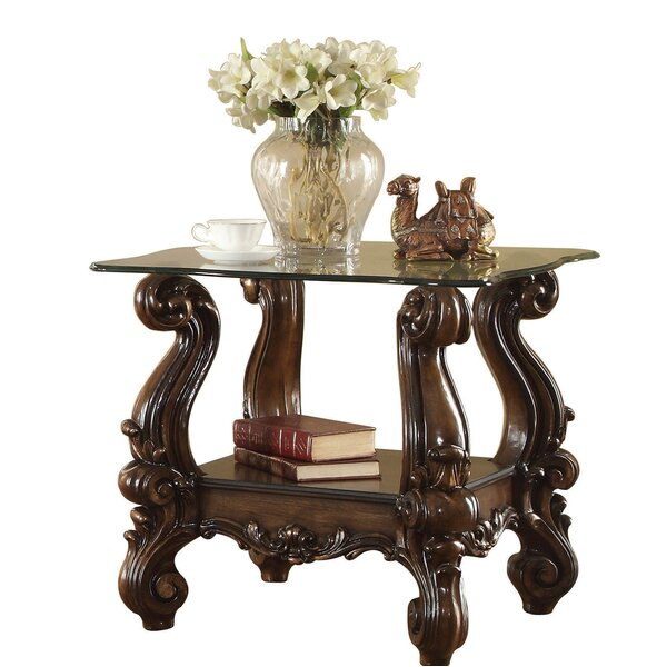 Review Jazmine Glass Top Wooden End Table