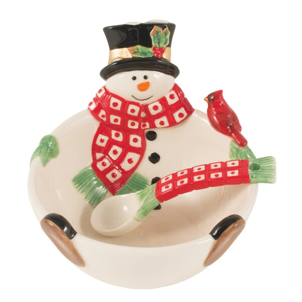 Holly Berry Snowman 10 oz. Cereal / Soup Bowl by Fitz and Floyd