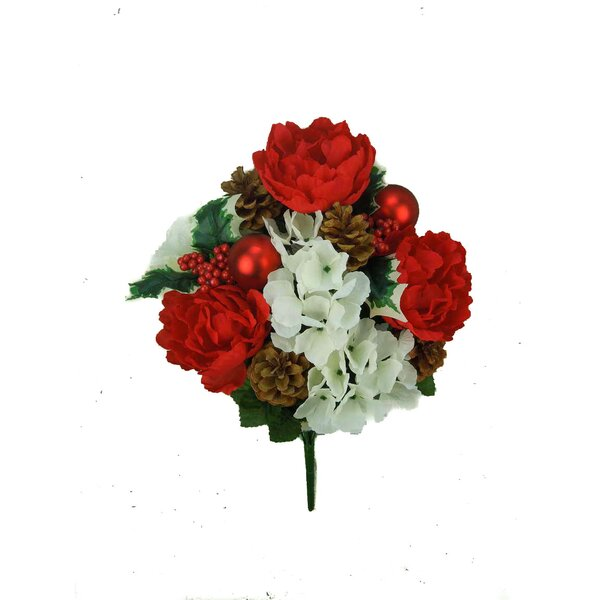 Christmas 14 Stems Faux Peony Hydrangea Mix with Christmas Ball, Berry and Holly Leaf Mixed Bush by Admired by Nature
