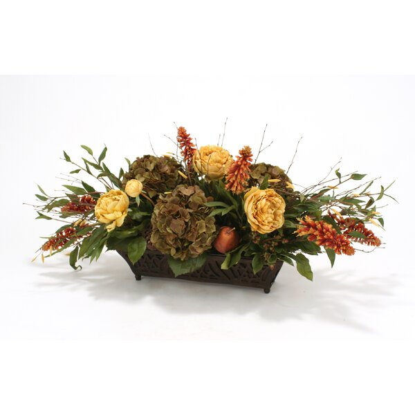 Silk Roses, Peonies, Berries and Birch in Rust Filigree Planter by Distinctive Designs
