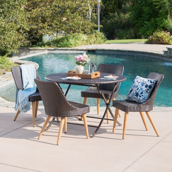 Bidwell Outdoor 5 Piece Wicker Dining Set by Ivy Bronx