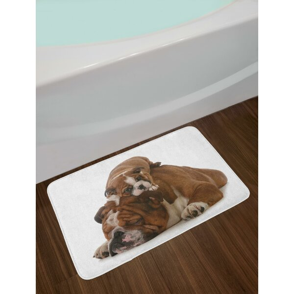 Father English Bulldog Bath Rug by East Urban Home