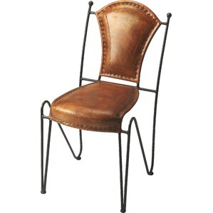 Galesburg Genuine Leather Upholstered Dining Chair by Red Barrel Studio