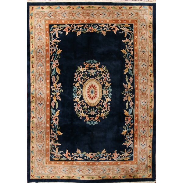 Indianola Art Deco Oriental Hand-Knotted Wool Red/Black/Blue Area Rug by Bloomsbury Market