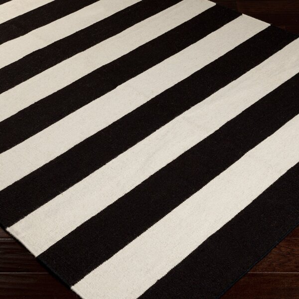 Ritner Hand-Woven Hand-Woven Wool Black Area Rug by Wrought Studio