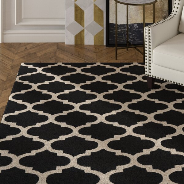 Frank Hand-Hooked Black Area Rug by House of Hampton