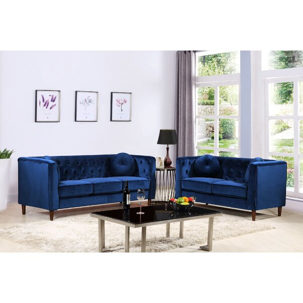 #2 Kitts Classic Chesterfield 2 Piece Living Room Set By Everly Quinn Bargain