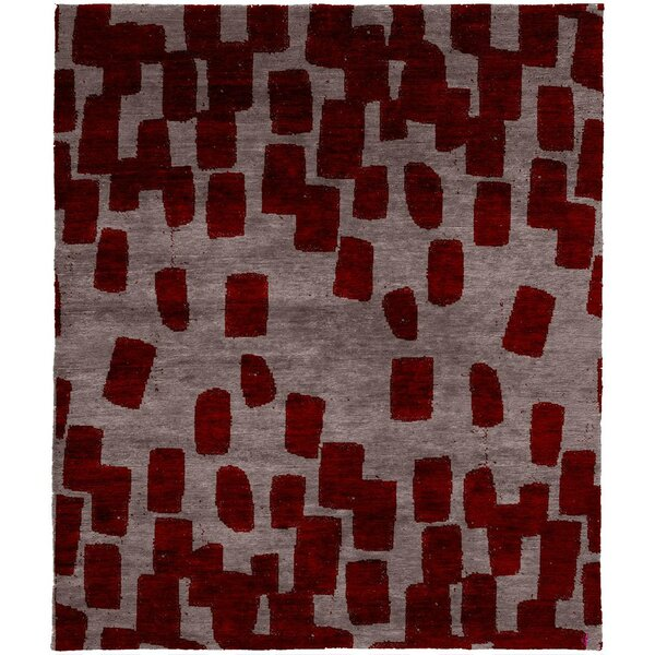 One-of-a-Kind Eloi Hand-Knotted Tibetan Red/Gray 8' Square Wool Area Rug
