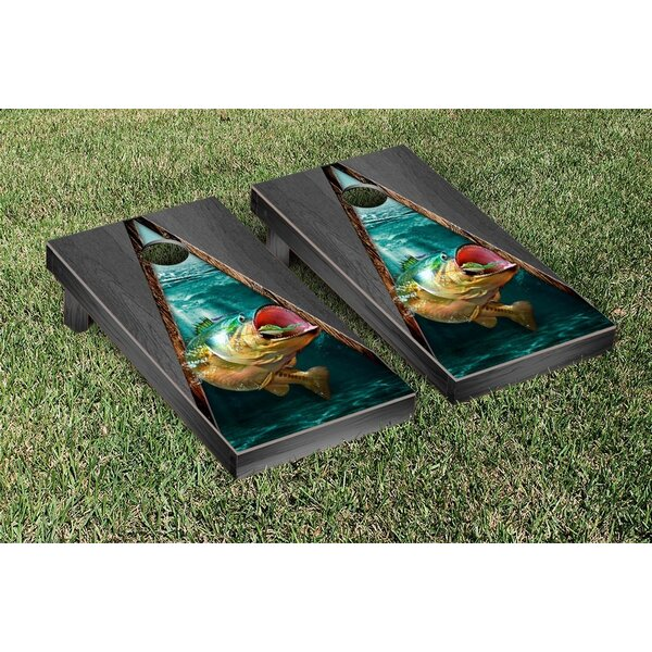 Bass Fishing Onyx Stained Triangle Version Cornhole Game Set by Victory Tailgate