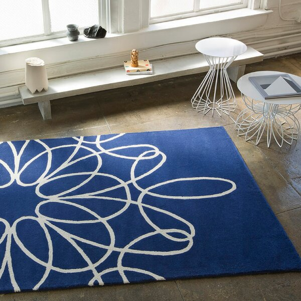 Ribbon Blue/White Area Rug by notNeutral